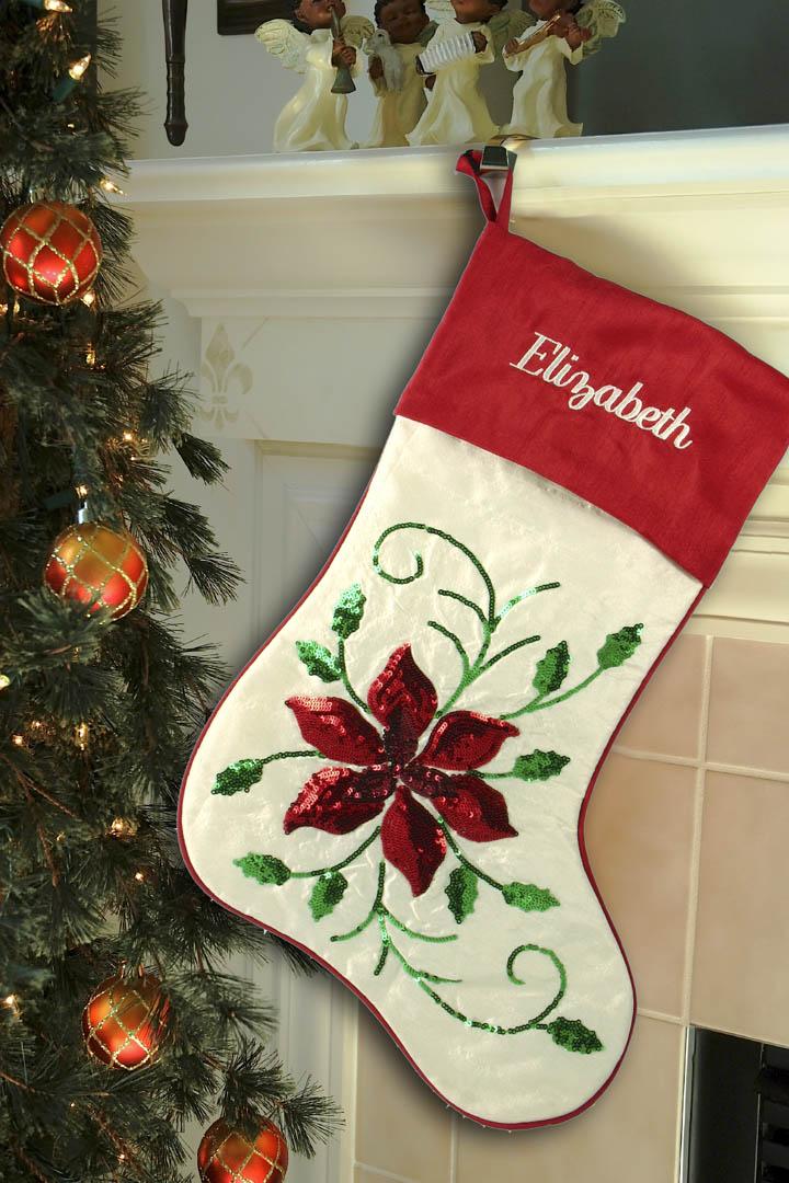 sequin poinsettia christmas stocking